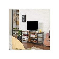 VASAGLE Lowboard LTV37BX, TV-Lowboard mit 4 Regalebenen, offene Fächer, 110 x 40 x 50 cm, vintage