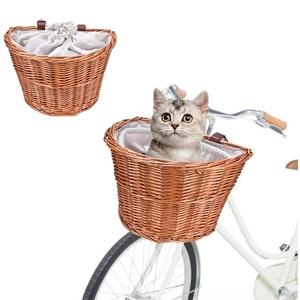 Haustier Fahrradkorb Fahrrad Weidenkorb vorne mit Lederriemen und Futter Kleine Haustier Katze Welpenträger Fahrrad vorne Korb Lenker Einfache Installation Abnehmbar Für Erwachsene Jungen Mädchen