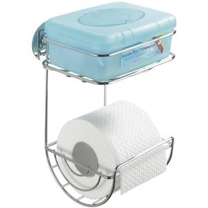 WENKO Turbo-Loc® Toilettenpapierhalter mit Ablage - Befestigen ohne bohren, Stahl, 16.5 x 24.5 x 14 cm, Chrom