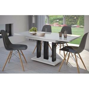 Säulentisch Hochglanz weiß/schwarz 130cm edler Esstisch ausziehbar modern design