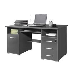 PC-Schreibtisch in Grau Tastaturauszug