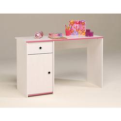 Schreibtisch Kiefer-Dekor weiß mit drehbaren Kanten