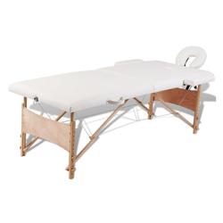 vidaXL Massageliege Massagetisch Massageliege Massagebank Kosmetik Therapieliege 2 Zonen + Tasche weiß