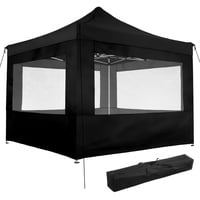 Tectake Faltpavillon 3,00 x 3,00 m inkl. 4 Seitenteile schwarz