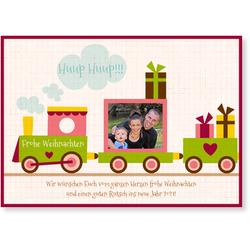 Lustige Weihnachtskarten (10 Karten) selbst gestalten, Kleine Eisenbahn - Rot