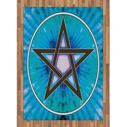 Teppich Flachgewebe Deko-Teppiche für das Wohn-,Schlaf-, und Essenszimmer, Abakuhaus, rechteckig, Pentagramm interlaced Pentagram 160 cm x 230 cm