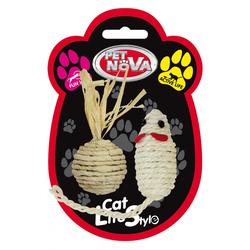 Katzenspielzeug SISALSET-MOUSE-BALL-7 Katzenspielzeug-Set 7x3cm Maus und 4 cm Kugel