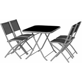 Siena Garden Kalua Set 5-tlg. silber/schwarz klappbar
