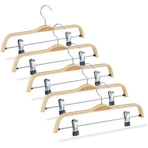 Relaxdays, Natur Hosenbügel Holz 5er Set, verstellbare & gummierte Clips, 360° drehbarer Haken, Kleiderbügel, 37cm breit