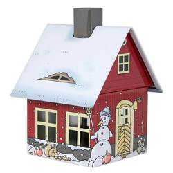 Crottendorfer Räucherhaus 2207, Wintermotiv, Räucherhäuschen aus Metall für Standardräucherkerzen
