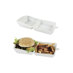 dynamic24 Geschirr, Porzellan, Hamburger Karton Porzellan weiss Burger Pommes Geschirr Teller Schale Schüssel