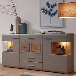 Wohnzimmer Sideboard in Grau und Eiche Optik LED Beleuchtung