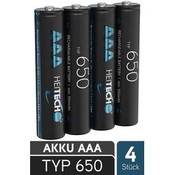 HEITECH 650 Akku AAA Micro - 4x NiMH Wiederaufladbare Batterien mit min. 550mAh & 1,2V - Akkus mit geringer Selbstentladung für Geräte mit hohem Stromverbrauch - Akkubatterien ideal für Telefon Akku 550 mAh (1.2 V)