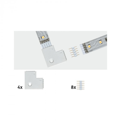 Paulmann 70616 MaxLED Eckverbinder 90° Weiß 4er-Pack inkl. 8 Steckverbinder