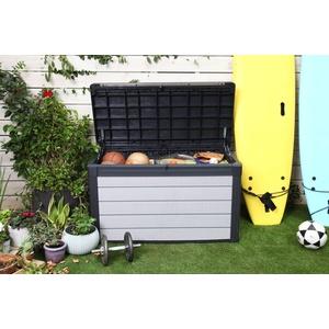 Keter Aufbewahrungsbox Denali 100, 380L, grau, Gartentruhe Gartenbox Kissenbox