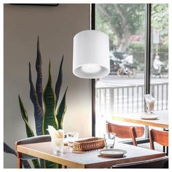 etc-shop Pendelleuchte, Pendelleuchte Zylinder Esstisch Lampen modern Pendelleuchte Wohnzimmer, Aluminium weiß, 1x GU10, DxH 10x80 cm, Esszimmer