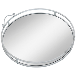 AM Design Tablett Mirror, Metall, mit Spiegelboden, Ø ca. 50 cm
