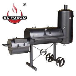 El Fuego Holzkohlegrill, 2 Thermometer, Gartengrill BBQ Grillwagen Räucherofen Smoker