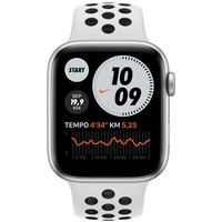 Apple Watch SE Nike (GPS + Celllular) 44 mm Aluminiumgehäuse silber, Nike Sportarmband pure platinum / schwarz