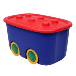 ONDIS24 Aufbewahrungsbox Spielzeugaufbewahrungsbox Spielzeugkiste Aufbewahrungsbox Kinder Spielzeugbox Funny mit großen Rädern und aufliegendem Deckel, rot blau, 46 liter