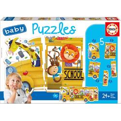 Educa Puzzle. Baby Puzzles Animals Bus 2x2/2x3/4Teile