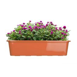 BigDean Blumenkasten für den Balkon − 2x Balkonkasten 60 cm Terrakotta (2 Stück) braun 60 cm