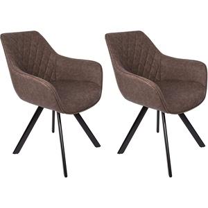 SAM Stilvoller Armlehnstuhl Amelie, 2er Set, Kunstlederbezug in Braun, abgestepptes Design, Schwarze Beine aus Metall, bequemer Sitzkomfort, Esszimmer-Stuhl