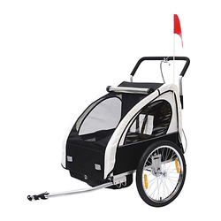 2 in1 Kinderfahrradanhänger / Jogger   Anhänger Fahrradanhänger Kinder Radanhänger schwarz/weiß