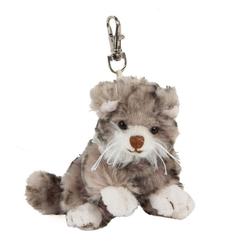 Bukowski Kuscheltier Katze grau getigert 10 cm Maciek braune Nase Schlüsselanhänger (Stoffkatze klein Plüschtiere Katzen Stofftiere Babykatze Katzenbaby)