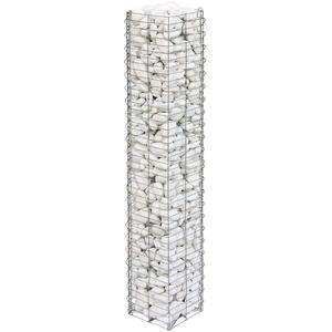 bellissa Gabionen-Steinsäule Basic - 95539 - Dekorative Gabionensäule für den Außenbereich - 20 x 20 x 118 cm
