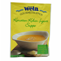 Karotten-Kokos-Ingwer Suppe 3 Teller - wela