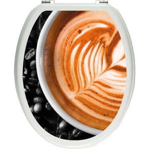 Pixxprint edler Kaffee mit Schaumverzierung schwarz/weiß als Toilettendeckel Aufkleber, WC, Klodeckel - Maße: 32x40 cm, Gläzendes Material Toilettendeckelaufkleber, Vinyl, bunt, 40 x 32 x 0.02 cm