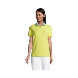Piqué-Poloshirt, Damen, Größe: 48-50 Normal, Gelb, Baumwolle, by Lands' End, Gelb Zitrone Madras - 48-50 - Gelb Zitrone Madras