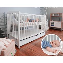 Alcube Babybett Emmi, Kinderbett Baby Bett 60x120 cm mit Schubladen als Set Juniorbett mit Rausfallschutz