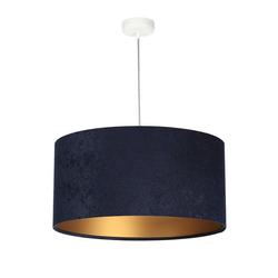 Licht-Erlebnisse Pendelleuchte SELENA Pendelleuchte retro Stoff Blau Gold E27 Esstisch Lampe