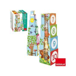 Goula Würfelpuzzle GOULA Stapelturm Wald, Puzzleteile