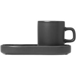BLOMUS Espressotasse PILAR (4-tlg), inkl. Untertassen grau
