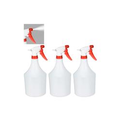 relaxdays Sprühflasche 3 x Sprühflasche weiß-rot, 1 Liter