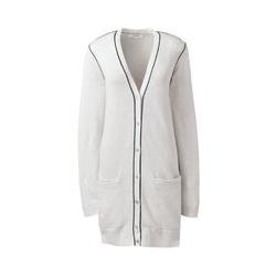 Langer Leinen/Baumwoll-Cardigan - S - Weiß