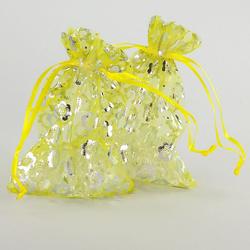 10 x Organzasäckchen Organzabeutel Schmuckbeutel Säckchen gelb Blumen
