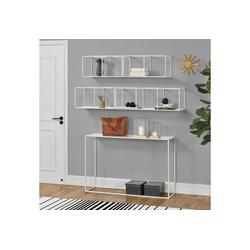 en.casa Konsolentisch, Konsolentisch + 4-teiliges Regalset [Metall] - Weiß weiß