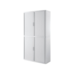 EASYOFFICE Rollladenschrank easyOffice Korpus weiß, Griff farbig weiß 110 cm x 204 cm x 41.5 cm
