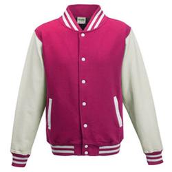 Kids` Varsity Jacket | Just Hoods Hot Pink/White 3/4 (XS)