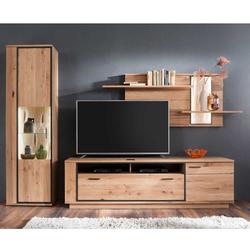 Fernseher Schrankwand in Asteiche Bianco furniert 270 cm breit (3-teilig)