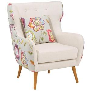 Home affaire Ohrensessel Missouri, zweifarbig mit tollem Blumenmuster, bequeme Sitzpolsterung, Sitzhöhe 47 cm