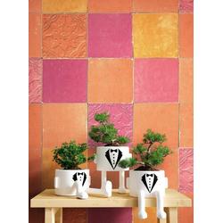 Newroom Vliestapete, Orange Tapete Fliesen Vintage - Fliesenoptik Mustertapete Rot Lila Mosaik Modern für Schlafzimmer Wohnzimmer Küche orange