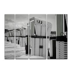 Bilderdepot24 Leinwandbild, Leinwandbild - Strandkörbe - schwarz weiß 180 cm x 120 cm