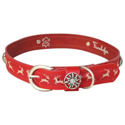 FRONHOFER Hunde-Halsband 18507, Ökoleder, Hundehalsband 3 cm Leder & Textilband Hirsch rotes Halsband 3 cm x 55 cm