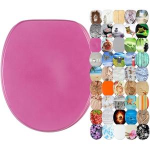 WC Sitz, viele schöne WC Sitze zur Auswahl, hochwertige und stabile Qualität aus Holz (Glitzer Pink)