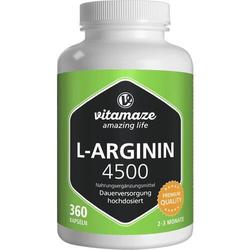 L-ARGININ HOCHDOSIERT 4.500 mg Kapseln 360 St.